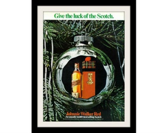 "1969 JOHNNIE WALKER Red Scotch Ad ""Gift of Luck"" Vintage Advertising Wall Decor Print"