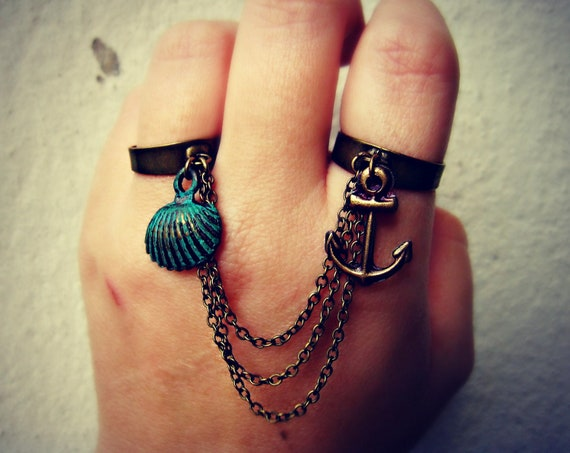anchor and shell double ring, nautical ring, anchor accessory, anchor ring, shell ring, chains ring