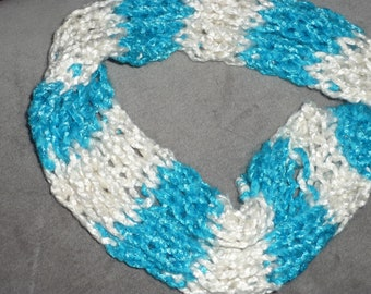 White and Aquamarine Scarf/March Birthstone/Valentine's Day/Teen Scarf