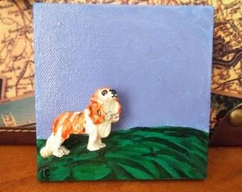 Little Dog Brooch - Mini Canvas Art  - For Dog lovers - Dog brooch