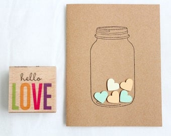 Love Heart in a Jar Hand-made Stationary Cards