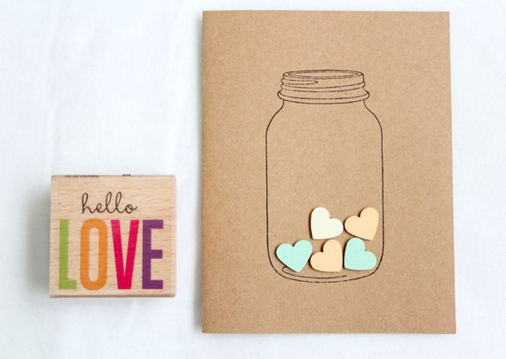 valentine's day gift for husband homemade - Love Heart in a Jar Hand made Stationary Cards