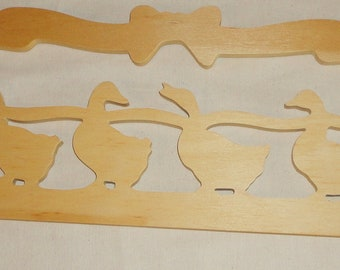 Vintage Four Geese Unfinished Wood Plaque - Craft project