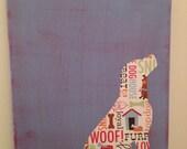 Sitting dog art on canvas - CUSTOM - Choose your dog!