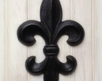 Fleur de lis Wall Decor Rustic Distressed Cast Iron (YOUR COLOR CHOICE)