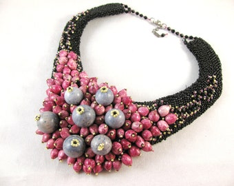 Bead Embroidery Necklace Statement Bib Purple Gray yellow Black Handmade