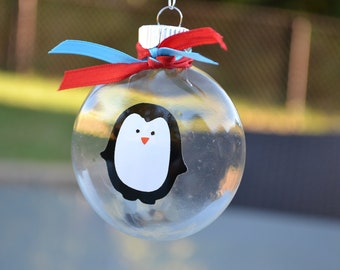 Glass penguin ornament red and turquoise ribbon favor