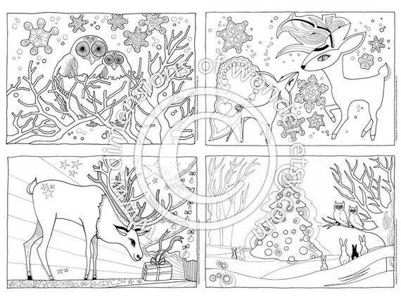 items similar to christmas coloring pages printables pack of 4 instant download holidays. Black Bedroom Furniture Sets. Home Design Ideas