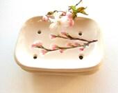 Ceramic soap dish cherry blossom creamy white pink Sakura bathroom guest room