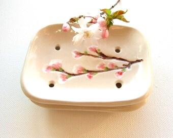 Ceramic soap dish cherry blossom creamy white pink Sakura bathroom guest room MADE TO ORDER