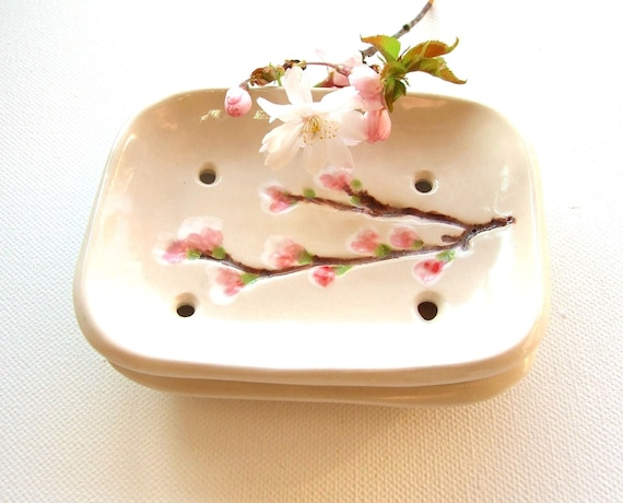 Ceramic soap dish cherry blossom creamy white pink Sakura bathroom guest room