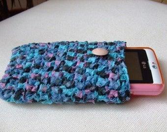 Crochet iPhone case,cozy,multicolor,cotton yarn