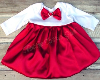 Satin Dress Bubble Dress Red Satin Baby Dress, Infant Holiday Baby wedding / party Dress available in 33 colors 5723