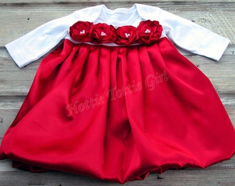 Baby Dress Red Satin with Rosettes & White pearls, Size Infant to Toddler Baby Girls Holiday Dresses, Couture Baby Dress 6229