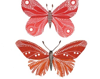 Red-Rust Butterflies Archival Art Print