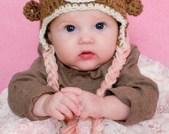 GIrls Pink & Cream Sock Monkey Chunky Hat