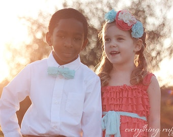 Coral Flower Girls Dress with Aqua Sash Ready to Ship SALE Sizes 2T, 4T, 5, and 6