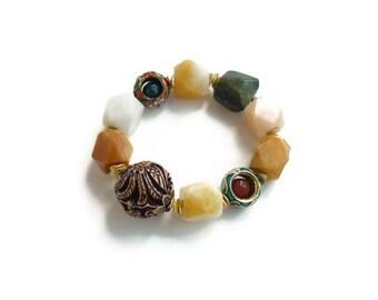 Wood Dragon Bird Elastic Bracelet Burmese Quartz Serpentine Gold Women's Healing Gemstone Jewelry OOAK Asian Natural Stone Gift