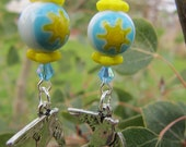 yellow and blue sunshine bead earrings with silver birds in flight drops, ready to ship, gifts for women, gifts under 20