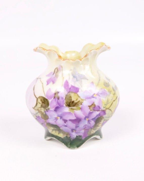Vintage Purple Violets Vase Hand Painted Porcelain