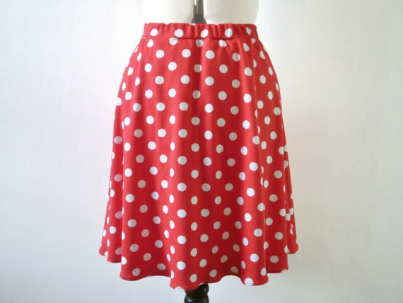 Red and white polka dot a line skirt