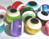 50 ct Evil Eye Beads 8mm Lampwork Acrylic - Mixed Glass Assortment (SBEE8-T1000)