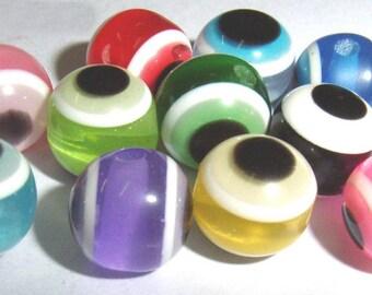 50 ct Evil Eye Beads 8mm Lampwork Acrylic - Mixed Glass Assortment (SBEE8-T1000)
