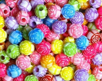 25 ct Acrylic Chunky Flower Beads 11mm - Mixed Color Assortment (CBFL11-1000)
