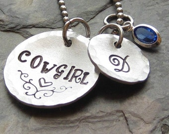 Personalized Hand stamped  Necklace for Equestrian-Cowgirl-Horse Lover.