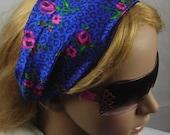 Women's wide hair band- Stretch Turban Headband -  urban turban head wrap headband pink flowers over blue.