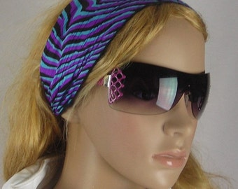 Women's wide hair band- Stretch Turban Headband -  urban turban head wrap headband  aquamarine blue purple black