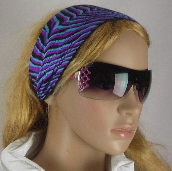 Women's wide hair band- Stretch Turban Headband -  urban turban head wrap headband  aquamarine blue purple black