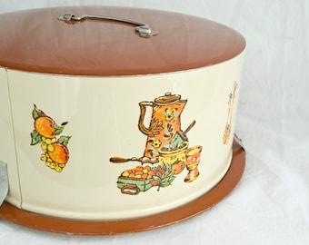 Vintage Decoware Cake Tin, Vintage Cake Carrier, Retro Cake Keeper, 1970s, Vintage Serving, Pie Carrier