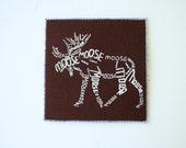 Moose Word Art Card - Screen Print White on Brown - Calligram