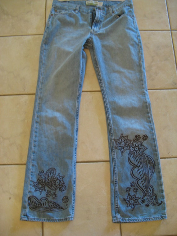 Henna Jeans Upcycled Women's Blue Jeans Size 8 Tattooed Painted