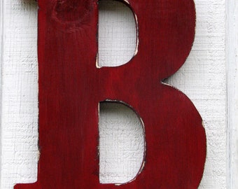 "18 Inch Wooden Wall Letters ""B"" True Red Home Decor Nursery Kids Room Decor You Pick Letter and Color"