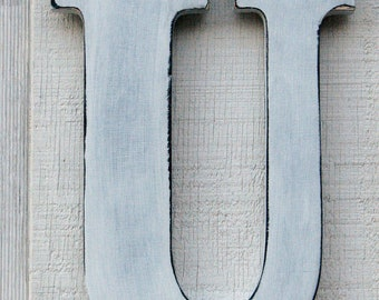 """Rustic Wooden Letter """"U"""" Distressed in White,12"""" tall Solid Wood Name Letters, Custom Made Any Letter and Color"""