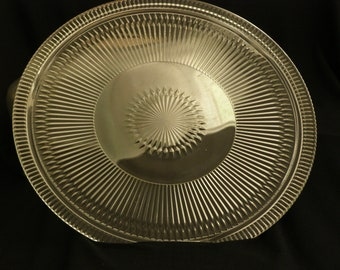 Vintage Glass Cake Plate 3 Footed and Aluminum Cover with Handle word Cake on it Large serve or use with or without cover