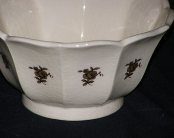 Vintage Planter Open Scallop Top Design with applied Gold Floral 10-Sides Signed