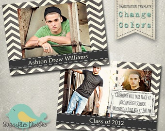 Chevron Graduation Announcement PHOTOSHOP TEMPLATE - Senior Graduation 9
