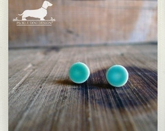 CLEARANCE! Seafoam Cirque. Post Earrings -- (Vintage-Style, Blue, Turquoise, Mint, Round, Simple, Small, Cute, Shabby Chic, Gift Under 5)