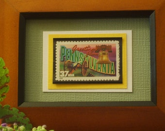 Greetings from Pennsylvania Framed Postage Stamp - No. 3598/3733