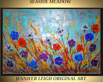 Original Large Abstract Painting Modern Acrylic Painting Canvas Art Floral Blue SEASIDE MEADOW Landscape 36x24 Textured Oil Painting J.LEIGH