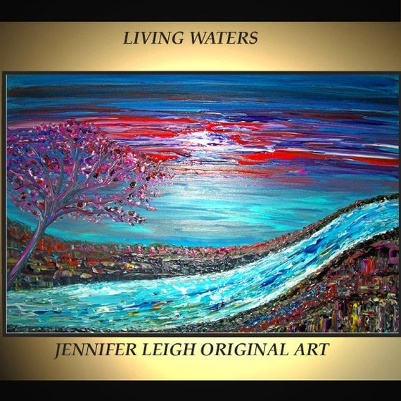 Original Large Abstract Painting Modern Contemporary Canvas Art Blue Pink Purple Living Waters 36x24 Tree Palette Knife Texture Oil J.LEIGH
