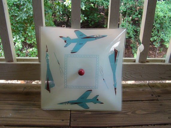 Vintage Children's Blue and Red Airplane Light Fixture
