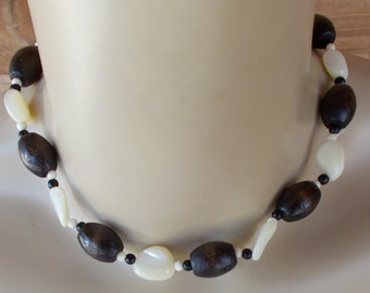 Beaded Wooden and Mother of Pearl Necklace