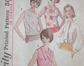 Vintage1964 Simplicity 5441 UNCUT Sewing Pattern Blouse with Jewel, V-neck or Tie collar Size 14 Bust 34