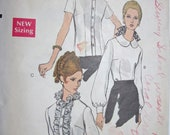Vintage 1960s Vogue 7404 Altered (Enlarged Front) Sewing Pattern Blouse with Peter Pan, Lace Ruffle or turn-over collar Size 10 Bust 32 1/2