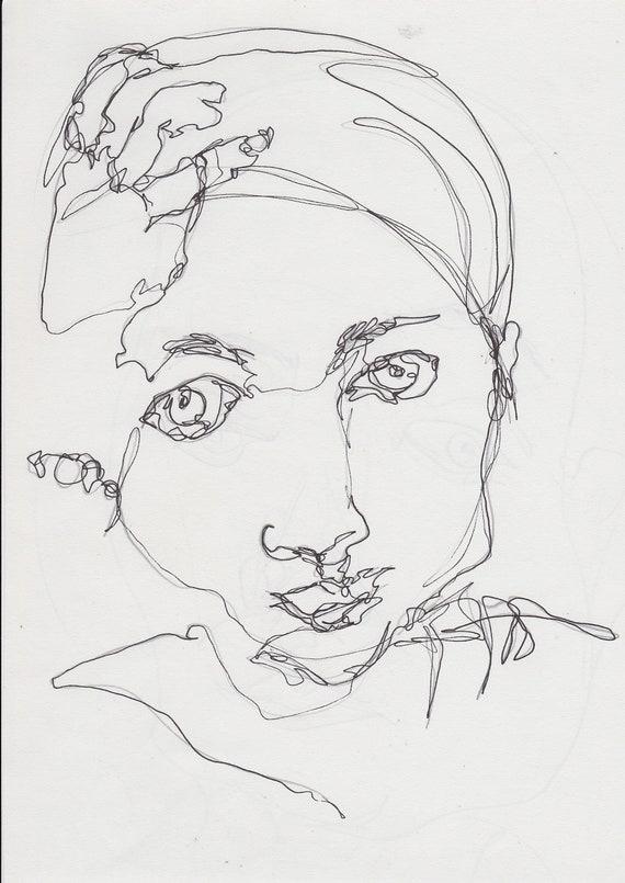 Line Art Ink : Original line ink drawing girl portrait modern art