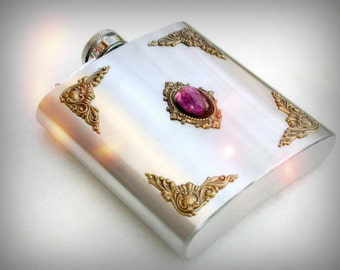Amethyst and Brass on Stainless Steel Hip Flask - 6 oz